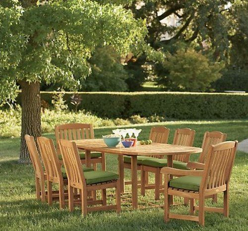 "New 9 Pc Luxurious Grade-A Teak Dining Set - 94"" Double Extension Oval Table, 6 Armless and 2 Arm / Captain Chairs [Model:DV1] by WholesaleTeak. Save 44 Off!. $1849.99. Oval Table (Trestle Leg) Dim: 71"" L (without extension) and 94"" L (with extension), 40"" W , 29.5"" H. ADD SUNBRELLA FABRIC CUSHIONS BY SEARCHING ""Wholesaleteak Dining Cushion"" ON AMAZON, CUSTOM MADE FOR THESE STYLE CHAIRS. Chair Dimension: 18"" Width x 20-1/2"" Depth x 34"" Height. Teak wood is an extremely dense course grain..."