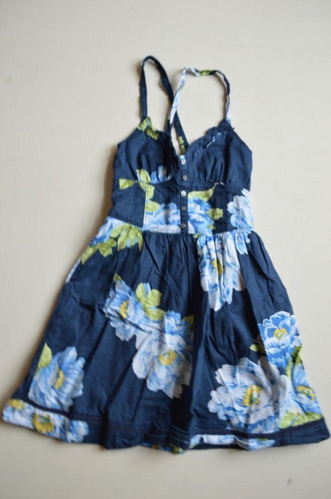 Abercrombie & Fitch Kids Girls Small Blue White Green Flower Sun Dress Sleeveles #AbercrombieFitch #EverydayDressy
