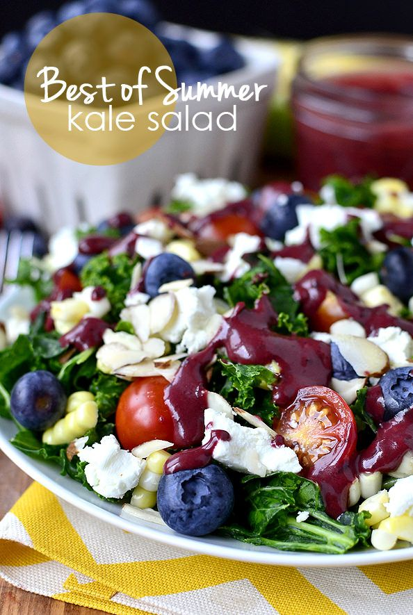 Best of Summer Kale Salad with Blueberry-Balsamic Vinaigrette features summer's best produce like sweet corn, blueberries and cherry tomatoes on a bed of hearty, healthy kale.   iowagirleats.com