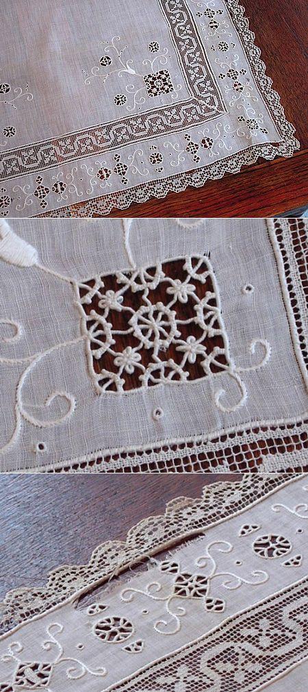 Em's Heart Antique Linens -Antique Italian Linen Embroidered Runner