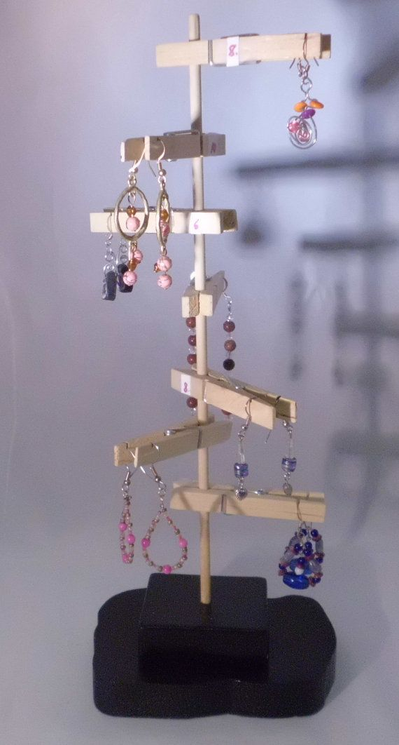 Unique Earring Display using clothespins.