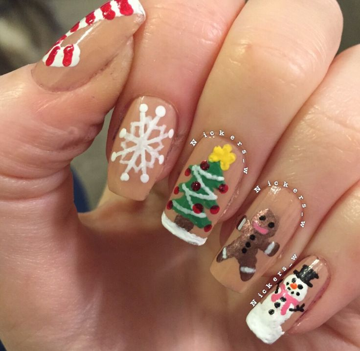 Christmas nails. Gingerbread man, Christmas tree, snowflake, snowman, candy cane.