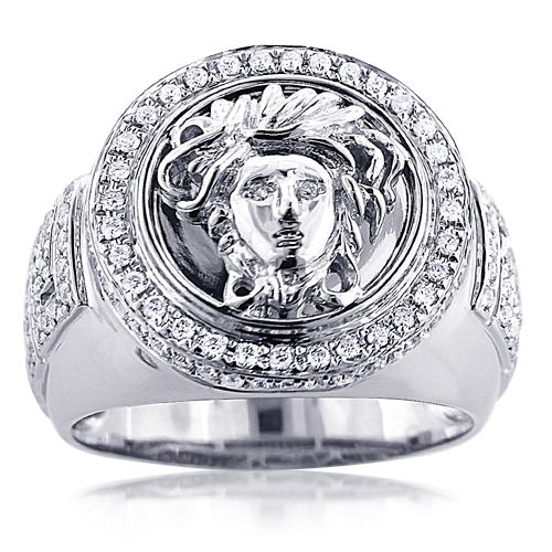 This sleek 14K gold diamond mens Versace Style ring with Medusa weighs approximately 16 grams and showcases 1.88 carats of sparkling round diamonds. Featuring a highly polished gold finish, this magnificent Versace Style diamond ring is a true beauty. Available in 14K white, yellow and rose gold.