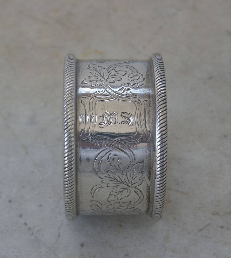 Victorian SIILVERPLATE NAPKIN RING Fancy Leaf and Swirl Design Monogram for M S or S W Etched Linear Top & Bottom Edges Fine Condition 1900s by OnceUpnTym on Etsy