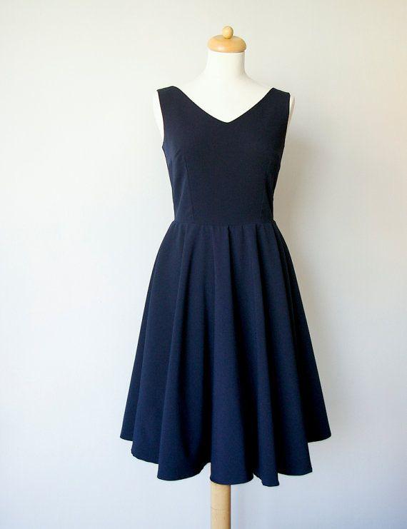 Navy blue bridesmaid dress circle dress vintage by Mokkafiveoclock
