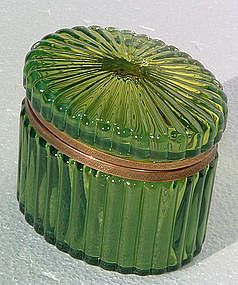 *CASKET ~ A Fine French Green Ribbed Glass Casket, pre 1930's.