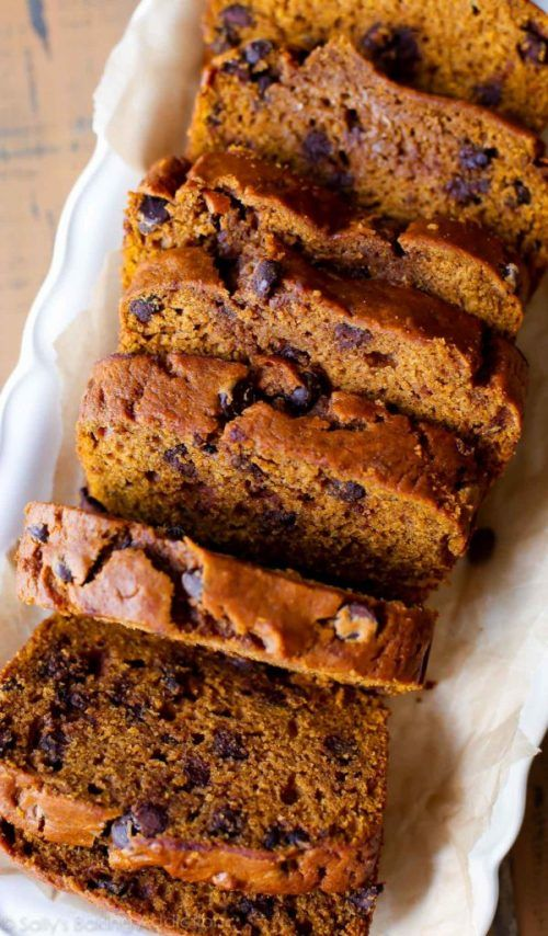 Pumpkin Chocolate Chip Bread Recipe Those pumpkins have had their time being witty candle holders. Now it is time for them to be made into wonderful baked goodies. Pumpkin Chocolate Chip Bread Recipe is the perfect way to introduce the pumpkin flavors into the family. The chocolate and pumpkin in this treat actually meld together very well and have a hard time telling when one ends and the other begins. It is really sweet with the pumpkin spice balancing the chocolate out. The bread that…