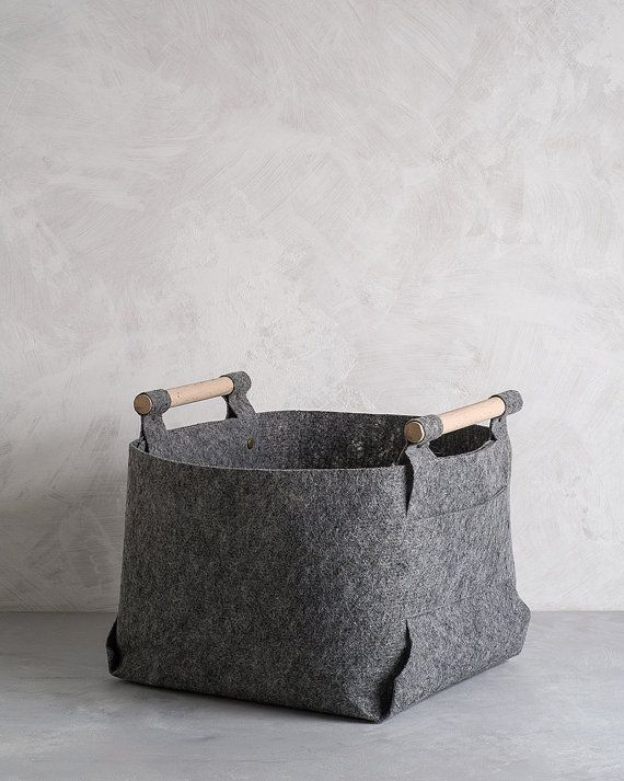 Large Felt Storage Bin with Natural Wood by loopdesignstudio