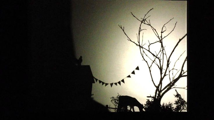 A walk around our house - Notes from Björkåsa. Shadow play animation in 3D, with simple cardboard silhouettes (and sounds from our garden)