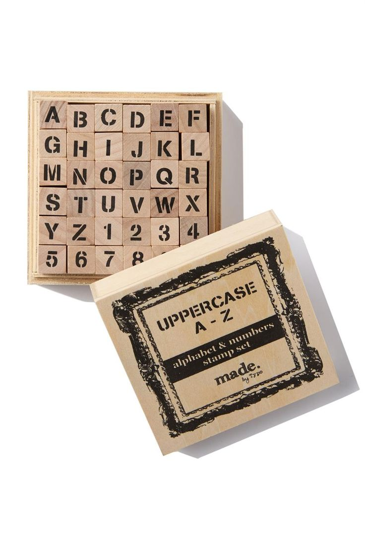 """Stamp Set in Wooden Box. Includes A - Z and 0-9. <br> Size: Box Dimensions are 9cm x 9cm x 4.5cm/ 3.54"""" x 3.54"""" x 1.77"""". <br/>"""