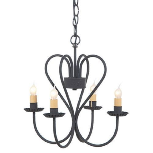 WROUGHT IRON HEART CHANDELIER Handcrafted Primitive Country 4 Arm Candelabra Ceiling Light Made in USA
