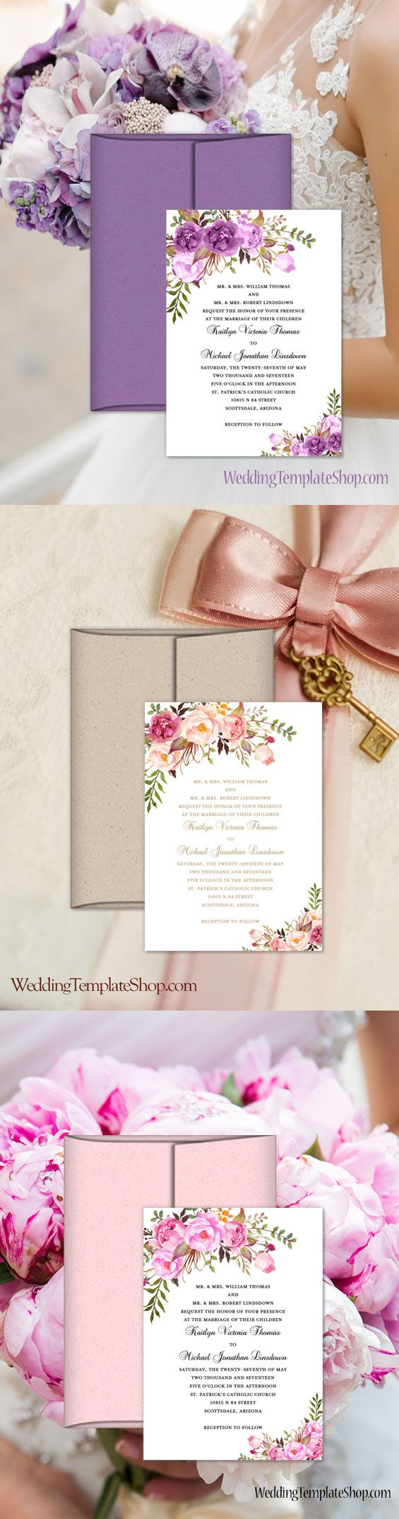 diy photo wedding invitations templates%0A DIY Wedding Invitation Templates  You Edit  u     Print  Romantic Blossoms  Design Series in multiple