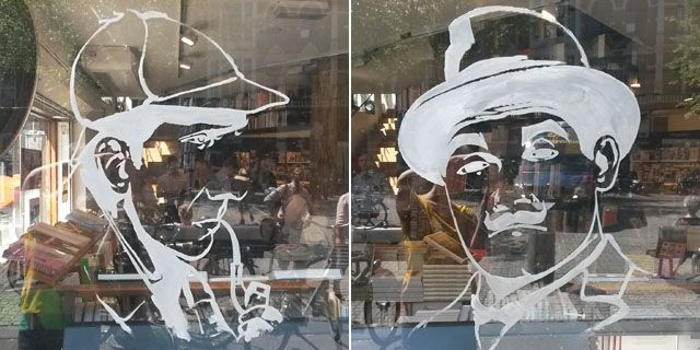 Art by Melissa Halley, window art painted at American Book Center Amsterdam, Classic Crime Month, Sherlock Holmes, Hercule Poirot