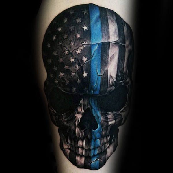 Manly Thin Blue Line Skull Flag Guys Thigh Tattoos