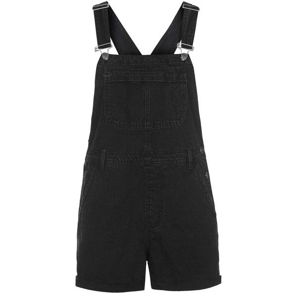 TOPSHOP PETITE MOTO Slim Fit Short Overalls ($70) ❤ liked on Polyvore featuring jumpsuits, rompers, jumpsuit, overalls, playsuits, shorts, topshop, petite, washed black y black jumpsuit romper