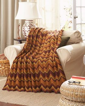Keep out the chill with this cozy Ripple Afghan. Shown in Waverly for Bernat