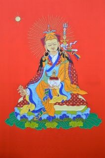 Padmasambhava, original art!  ​100% Pure ​silk and hand stitched Stretched on a wooden frame Measures 90cmx62cm  ​Free shipping! Only 1 available  Silk applique thangka is a highly renowned form of Tibetan Buddhist art. Monasteries, practitioners and individuals buy this style of thangka for the beauty, quality and deep meaning of the art form. Traditionally silk thangkas are held in high esteem due to the time consuming nature of hand stitching and embroidery, they are versatile and not…