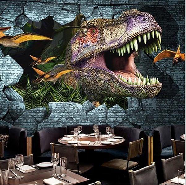 3d Roaring Dinosaur Breaking Wall Custom Wallpaper Mural Wallpaper Living Room Wallpaper Bedroom Dinosaur Wallpaper