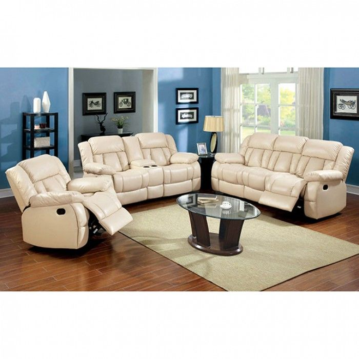 Update your family room with this stylish sofa, love seat, and recliner upholstered in sturdy bonded leather match. Plush cushions and recliners offer comfort, while the ivory bonded leather match will look great in any home. #JMDFurniture #StylishSofa #LoveSeat #Recliner