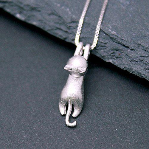 Piccolo gatto appeso- Ciondolo collana in argento-per-gli-amanti-dei-gatti-e-gli-amanti-degli-animali-per-Natale-di-compleanno
