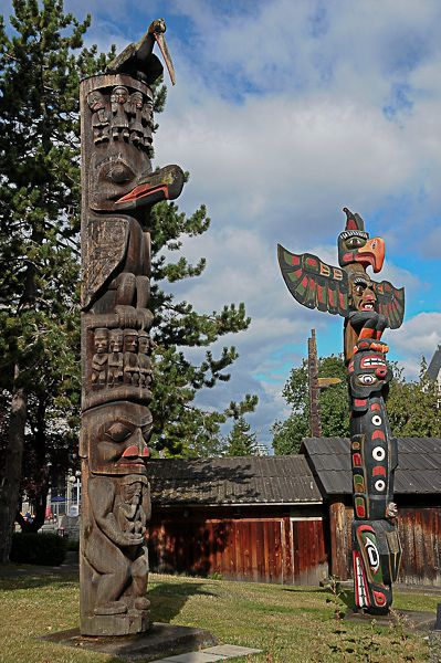 Victoria, British Columbia, Canada - You'll see these totem poles in many towns on Vancouver Island.