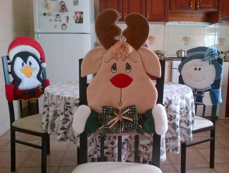 Cubre sillas con motivos navideños, reno, pingúino y muñeco de nieve