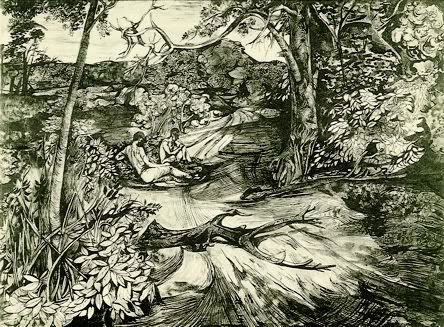 John Minton. 'Surrey Landscape'. Pen, ink and watercolour on paper. 1944.