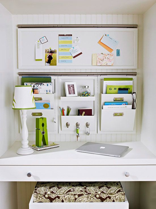 home office desk organization ideas. convert a small desk into great office space with wall pockets and bulletin board home organization ideas