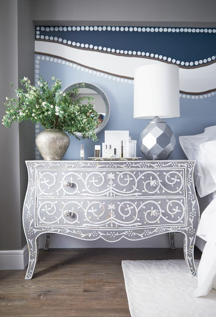 This colour palette of soft grey, white, deep and pale blue combined in classic meets modern pattern styles is quite charming, serene and yet very contemporary.