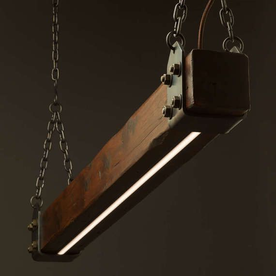 Timber Beam LED Pendant Light No.1 | Industrial Wood Pendant | Wooden Ceiling Chandelier | Integrated Dimmer | Linear LED Lighting