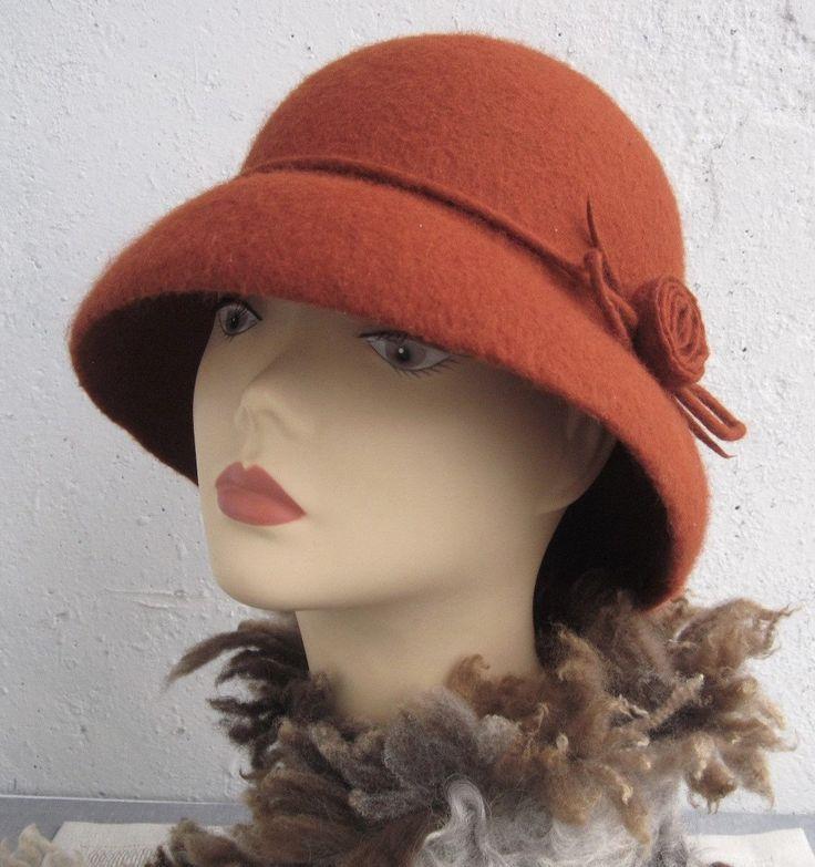 Terracotta hat Felt hat Women's retro hat Red brown hat Elegant hat Women's hat with brim Retro hat 1920s hat Felted wool hat Hat felt - pinned by pin4etsy.com