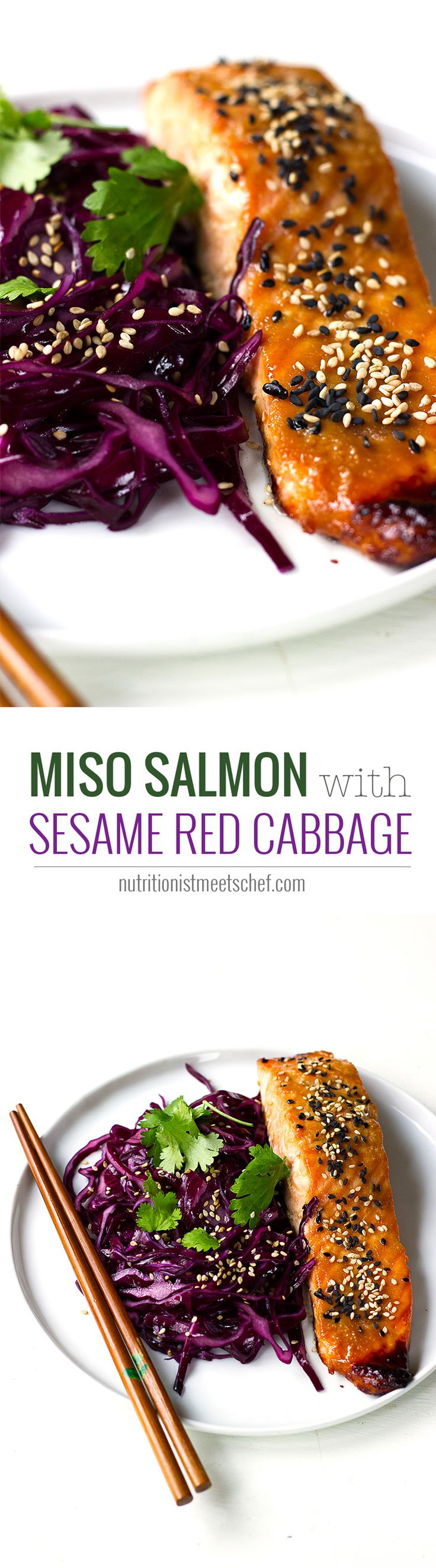 Miso Salmo with Sesame Red Cabbage! A tasty and healthy dinner! See more at nutritionistmeetschef.com via @nutrimeetschef