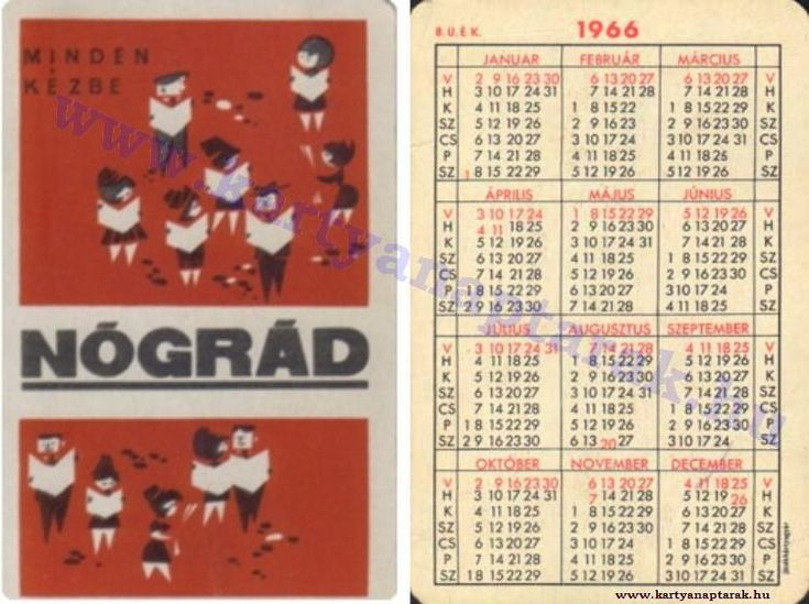 1966 - 1966_0101 - Régi magyar kártyanaptárak