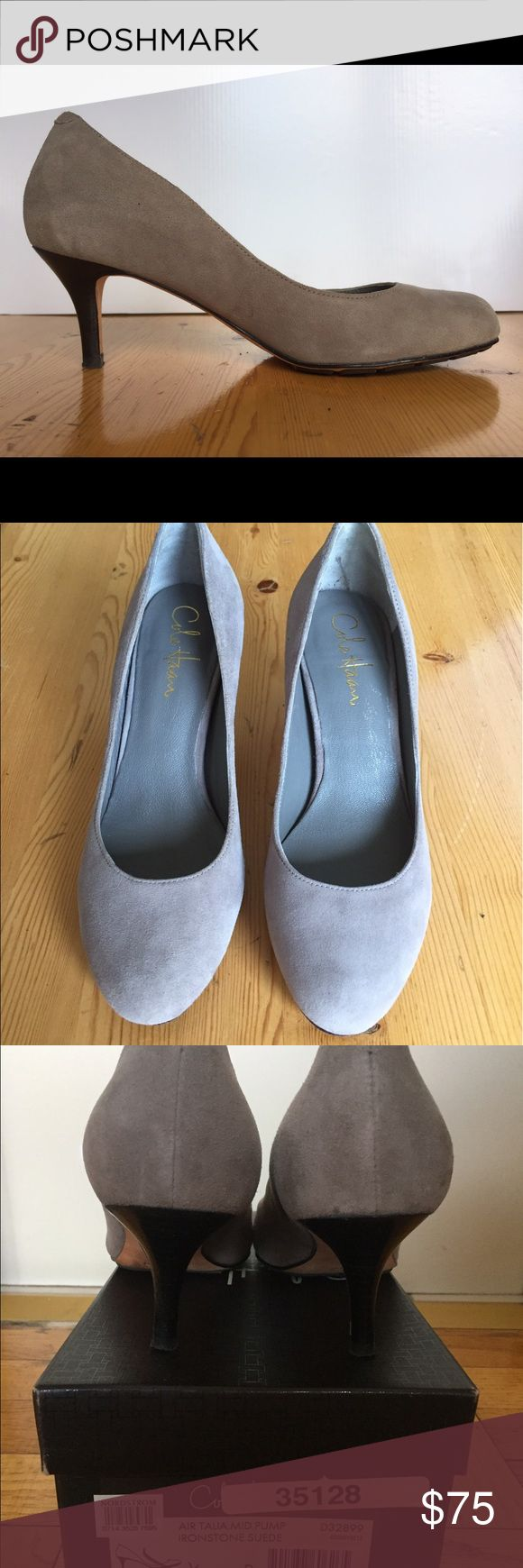 Cole Haan Talia Gray Suede Nike Air Heel Size 6 2 1/2 in. Cole Haan mid-heel pump with Nike Air cushioning technology and rubber sole, super comfortable for both work and evening.  Pretty gray suede in great condition, like new. Cole Haan Shoes Heels