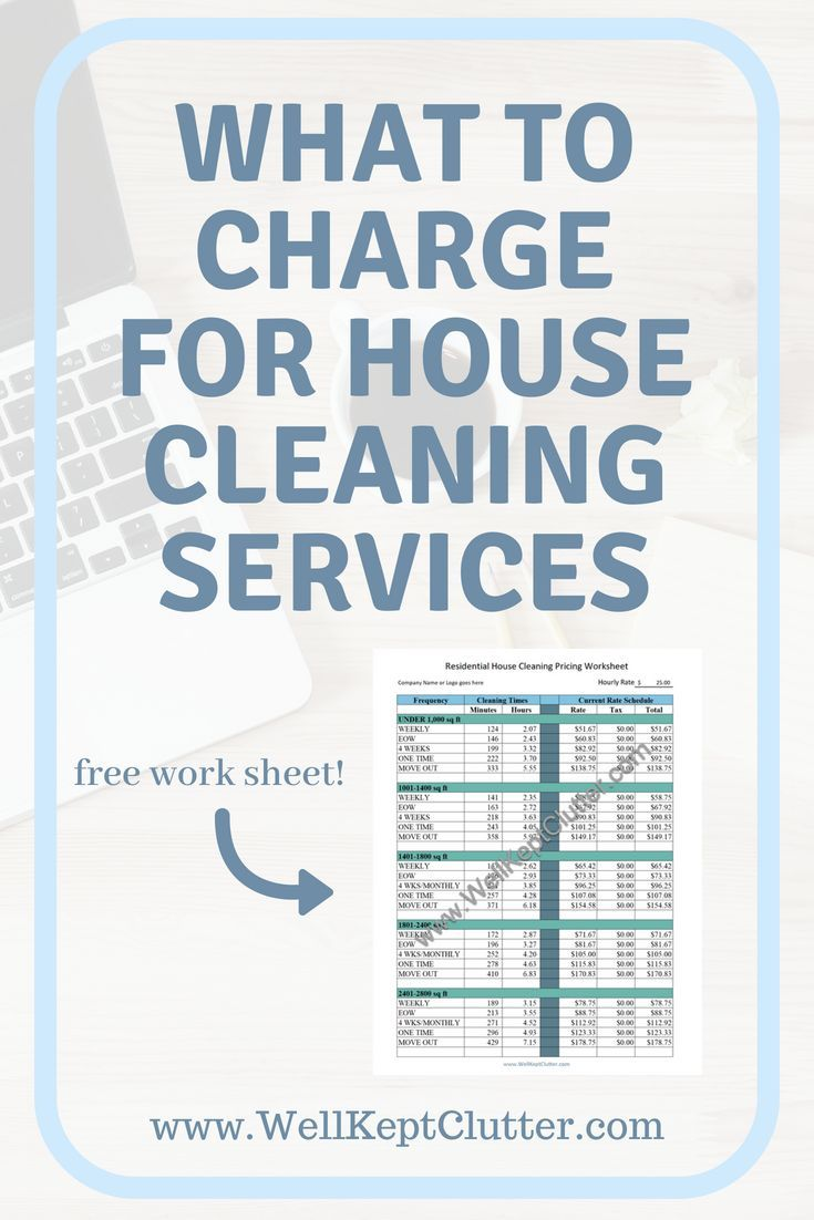 how to price your house cleaning service free worksheet