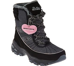 Skechers D'Lites Lace-up Faux Fur Winter Boots - Chateau