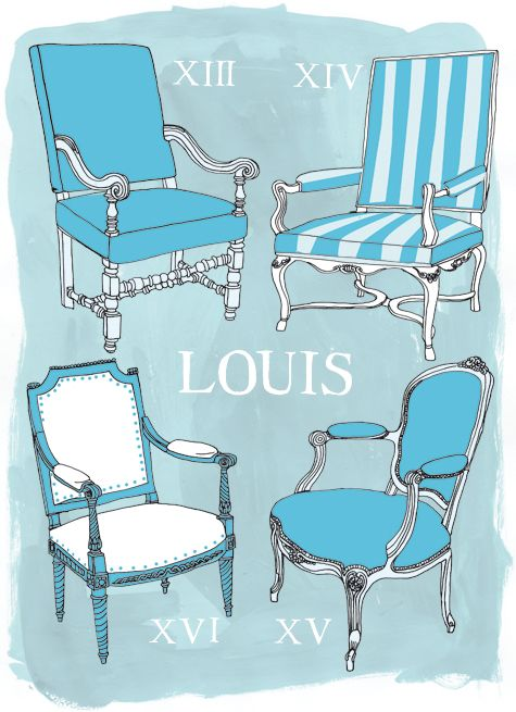 History of French Chairs    Illustration by Julia Rothman:   http://www.juliarothman.com