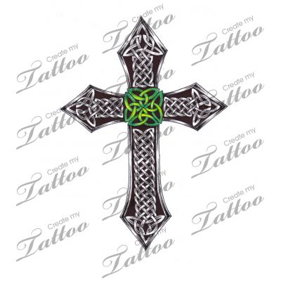 Marketplace Tattoo Shaded Celtic Cross with nice Irish green! #4395 | CreateMyTattoo.com