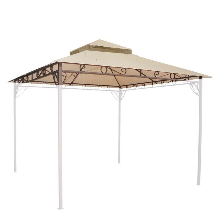 10'x10' Waterproof Gazebo Top 2 Tier Replacement UV30+ Outdoor Yard Canopy Cover #Yescom