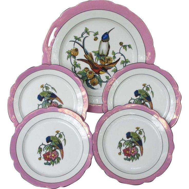 Surprise your guests with the wonder and whimsy of wildlife with this Schwarzenhammer Cake Set sporting Bee Eaters and Parrots. Catch it at Antique Beak on Ruby Lane.