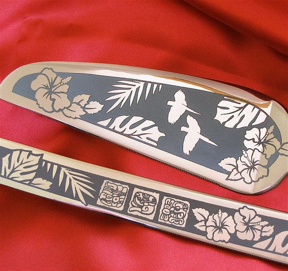 Tropical Wedding Cake Server and Knife Set by bradgoodell - Etsy  FAB shop!