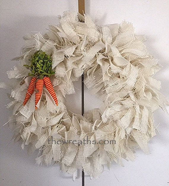 Easter Burlap Wreath White Easter Burlap Wreath By