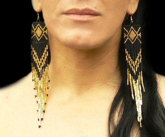 Extra Long Earrings. Gold and Black Earrings.  Native American Beaded Earrings Inspired. Shoulder Dusters. Beadwork