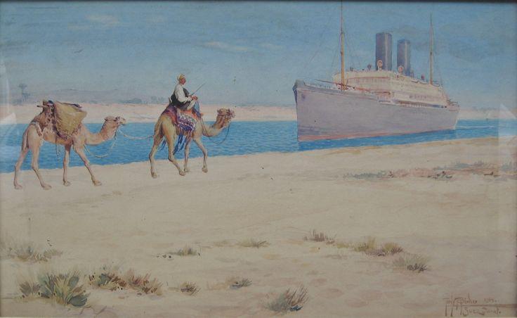 Binder, Tony, (1868-1944), Suez Canal, Watercolour
