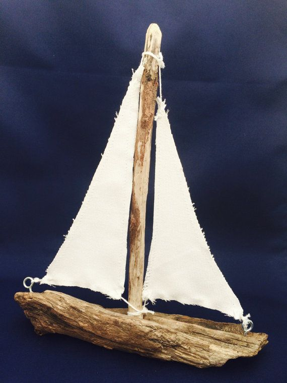 Driftwood Sailboat by MarineBlueHandmade on Etsy