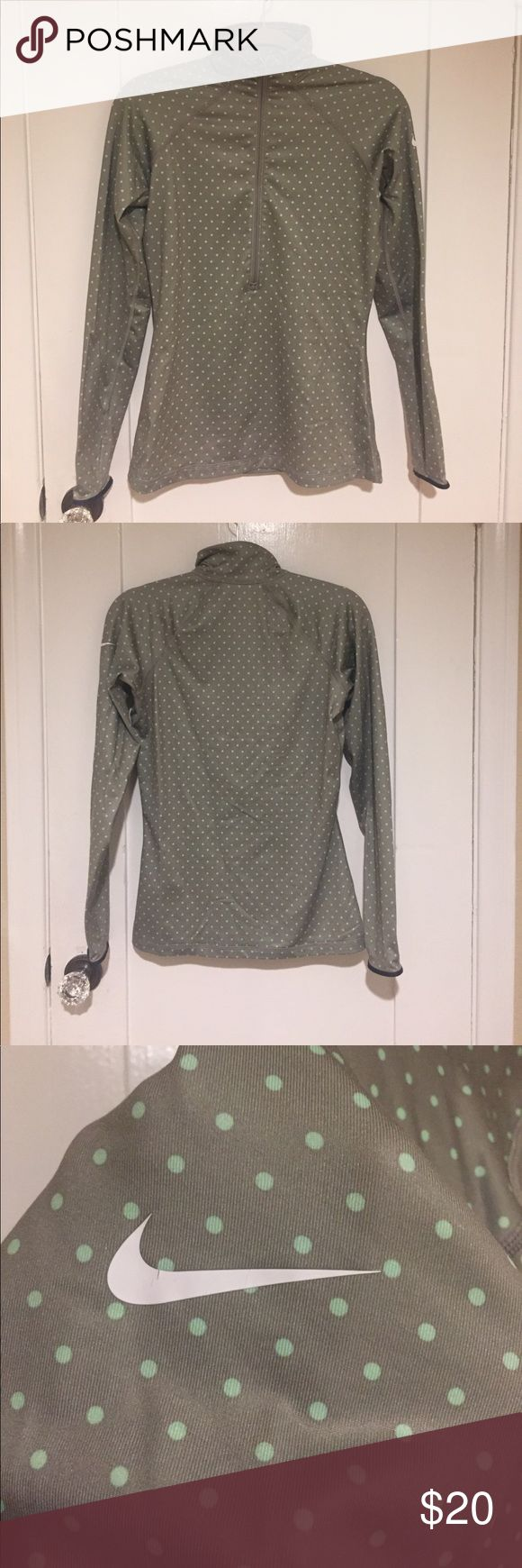 Nike women's running sweatshirt Gray/ mint green polka dot Nike Pro running sweatshirt with thumb holes. Nike Tops Sweatshirts & Hoodies