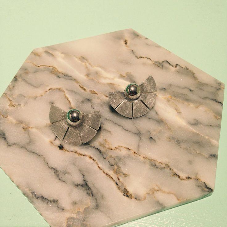 SUN ear studs, silver - www.facebook.com/madebyella, @jewelrymadebyella