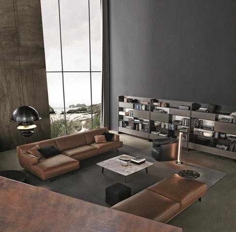 POLIFORM: Skip bookcase, Tribeca Sofa and pouf in leather, Santa Monica armchair in leather, Tribeca and Soori small tables