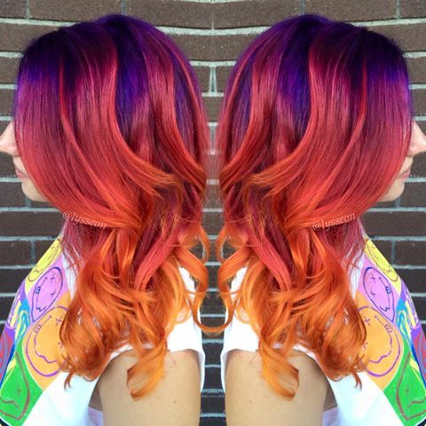 Hair by Alyssa Wiener:  ☀ Cosmic Sunset ☀ using all color from Arctic Fox Hair Color   This deep purple root is one of my faaaavorite things ever.