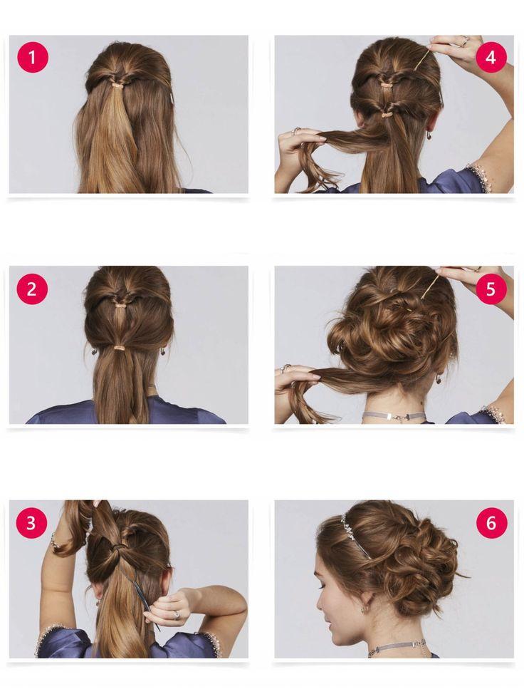 Eine Hochsteckfrisur für echte Prinzessinnen - und so geht's: Die obere Haarpartie zu einem Pferdeschwanz zusammenbinden und mit Hilfe einer Haarschlaufe eindrehen. Dazu den Stiel hinter dem Haargummi einstecken, den Zopf durch die obere Schlaufe führen und dann vorsichtig am Stiel ziehen, bis die Haare komplett durchgezogen sind. Anschließend eine weitere Haarpartie am Hinterkopf zusammenbinden und wieder mit Hilfe der Haarschlaufe eindrehen. Das gesamte Haar Strähne für Strähne mit…